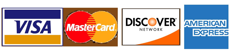 We accept American Express, MasterCard, Visa & Discover